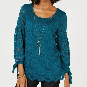 JM Collection Teal Abyss Lace Blouse with Necklace